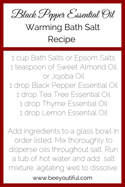 #HowToTuesday- Black Pepper #EssentialOil Bath Salt Recipe from Beeyoutiful.com