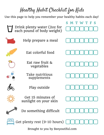 Healthy Habits Checklist for Kids from Beeyoutiful.com