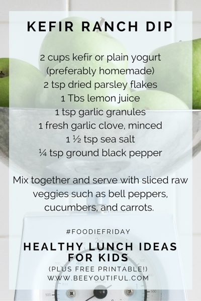 #FoodieFriday- Healthy Lunch Ideas For Kids (plus free printable!) from Beeyoutiful.com